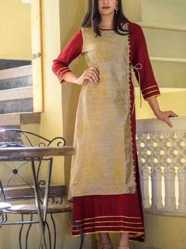 Rayon Designer Kurti with Chanderi Fabric