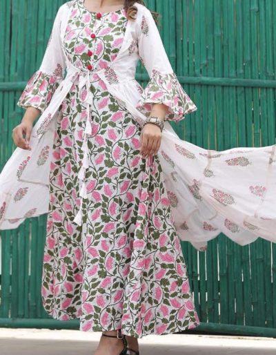 Inner and full jacket cotton kurti [1076]