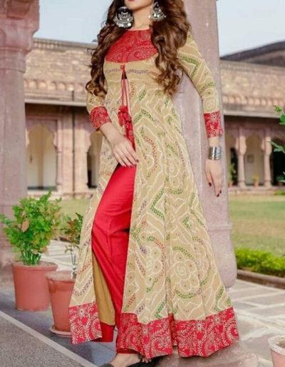 Traditional bandhani print kurti with pant 1074