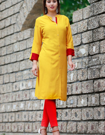 Yellow colour straight kurta with button detailing