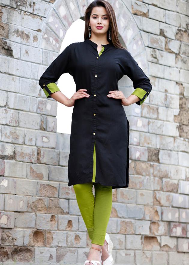black kurta green touch
