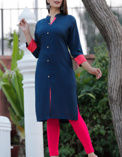 blue red straight kurta