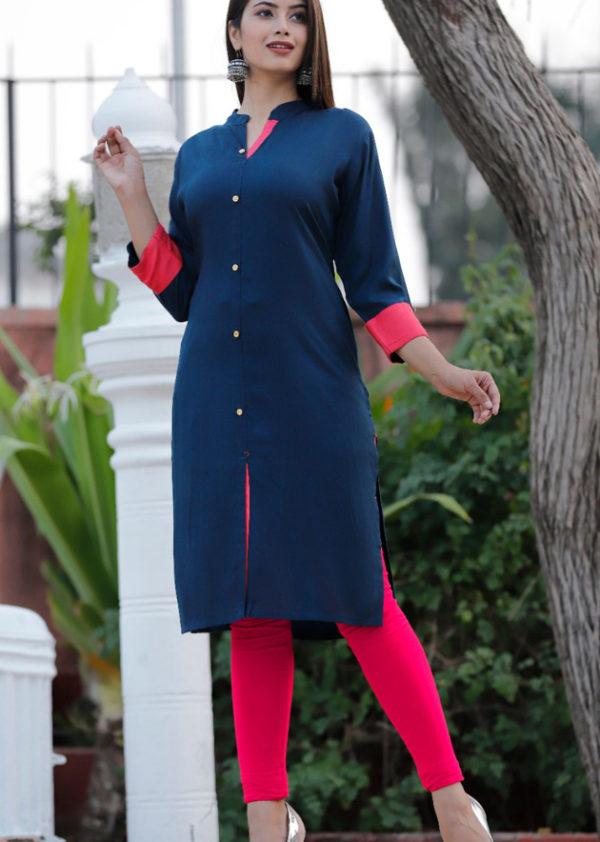 blue red straight kurta