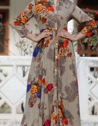 Beautiful long kurti with printed design in rayon