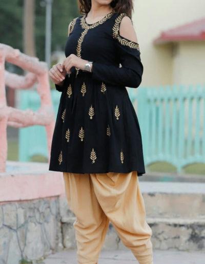 Beautiful rayon black kurti with gotta work