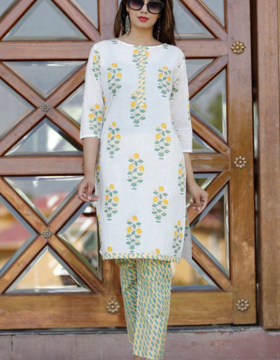 Cotton kurti, pant set in block print [AM-1183]