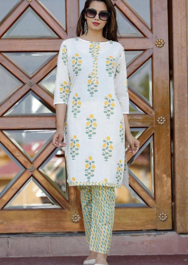 Cotton kurti, pant set in block print [AM-1183]