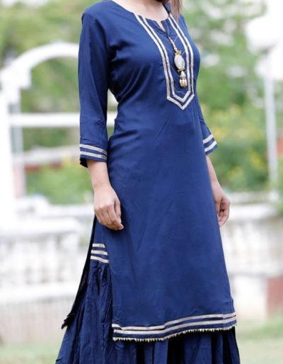 Dark blue kurti sharara in rayon fabric