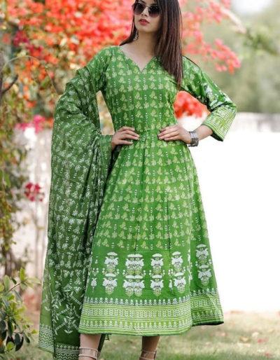Green cotton kurti with dupatta