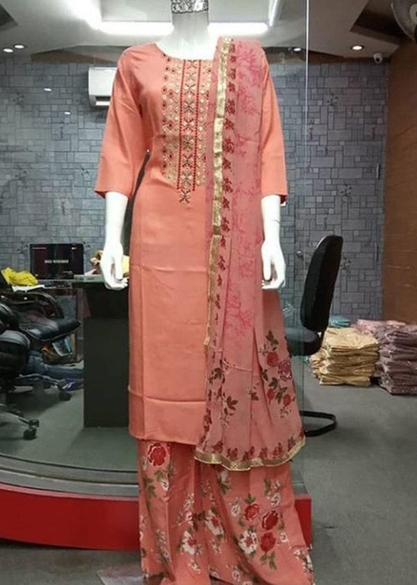 Kurti and palazzo in pure camber rayon with aari handwork