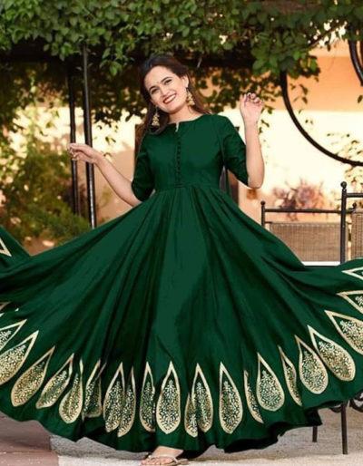 Long dark green kurti with gold print work