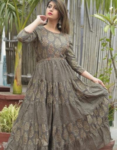 Long designer kurti in cotton fabric