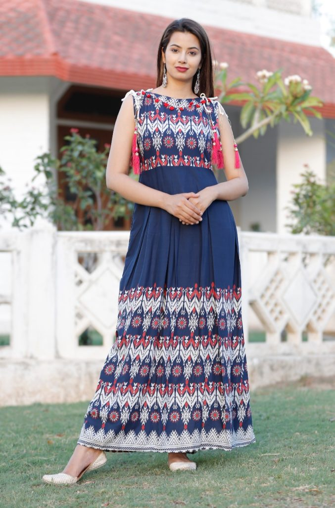 Long rayon gown for summer season