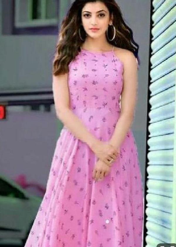 Long sleeveless kurti in rayon fabric