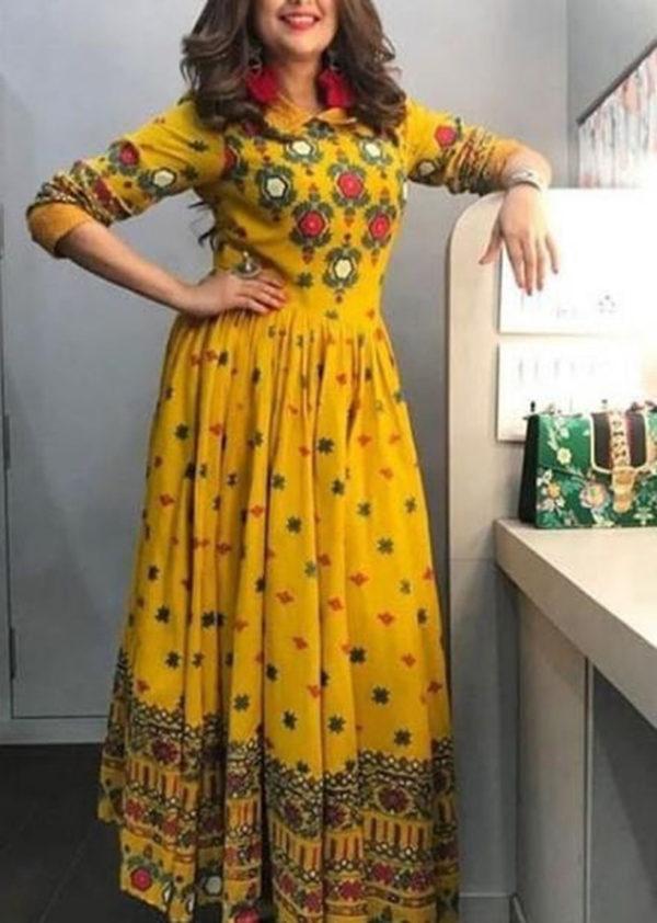 Mustard colour printed kurti in rayon fabric