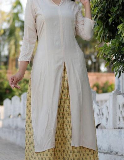 Rayon and cotton kurti with skirt