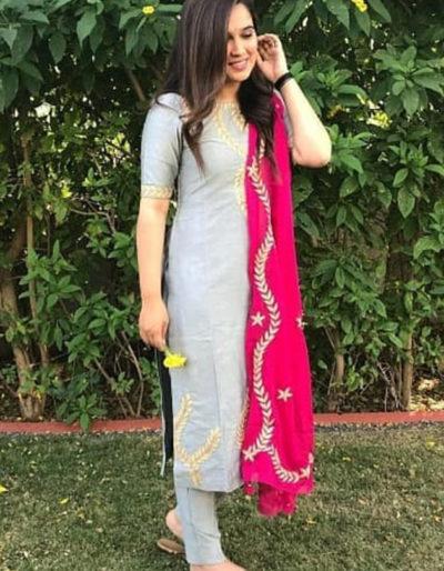 Rayon kurti, palazzo pant, cotton dupatta with gotta work