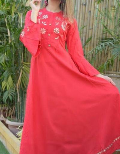 Rayon red kurti with beautiful gotta work