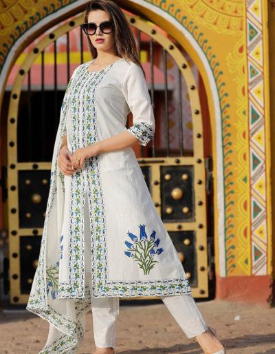 White cotton kurti, pant and dupatta with kalamkari work