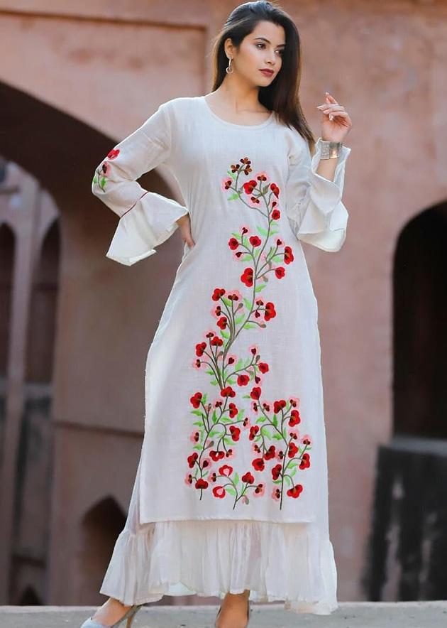 White kurti with beautiful embroidery work