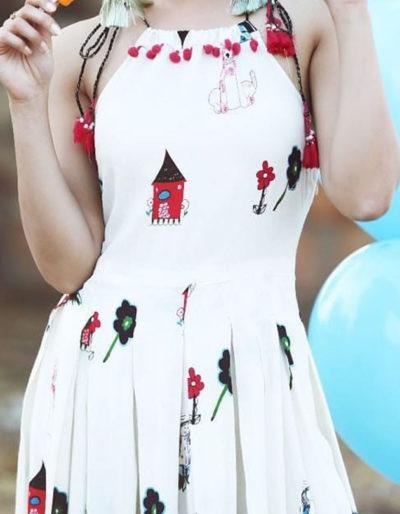 sleeveless rayon kurti with casual prints