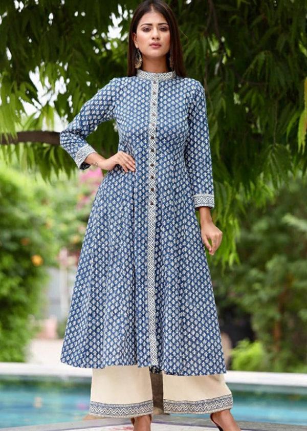 Cotton block print kurti-palazzo set in two colours