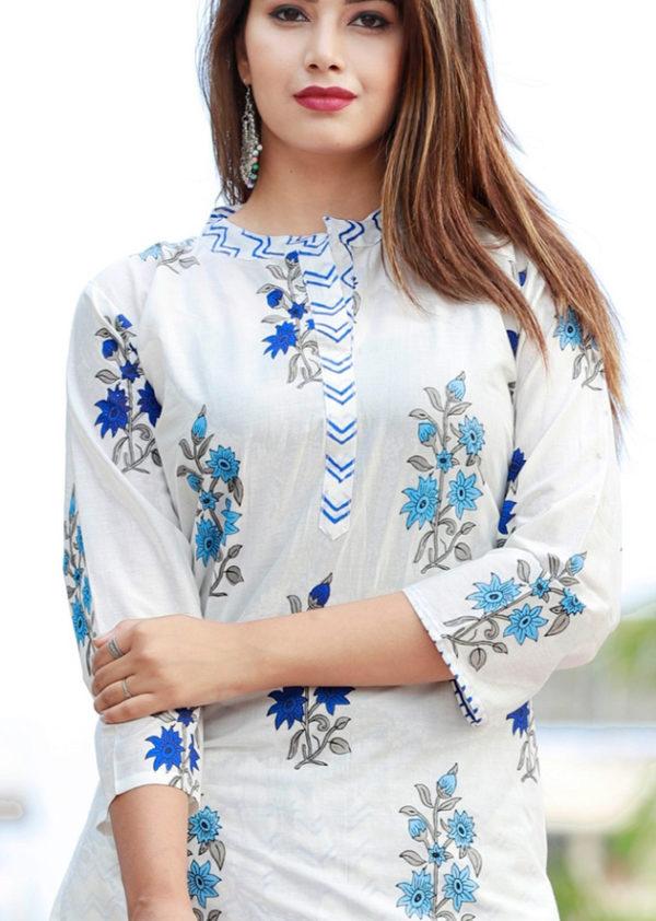 Cotton kurti, pant and dupatta set