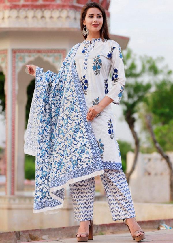Cotton kurti, pant and dupatta set with colourful block prints