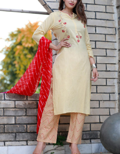 Hand-embroidered cotton Kurti and palazzo