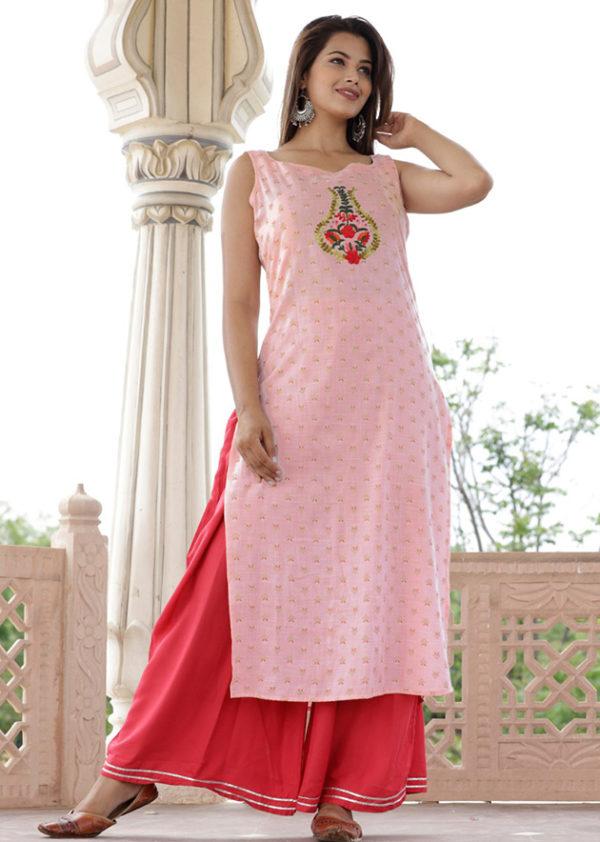 2-ton fabric kurti with rayon palazzo