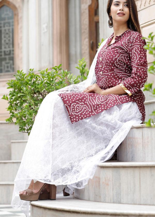 cotton kurti with net dupatta 1