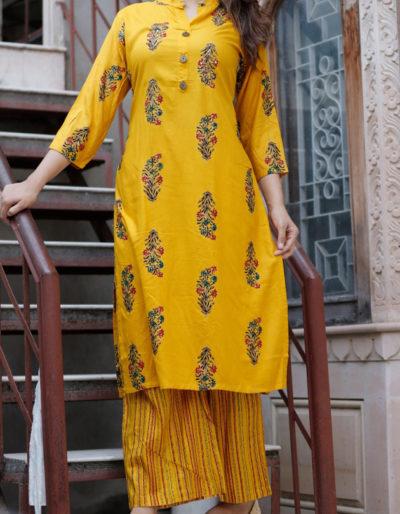 yellow printed kurti pant set