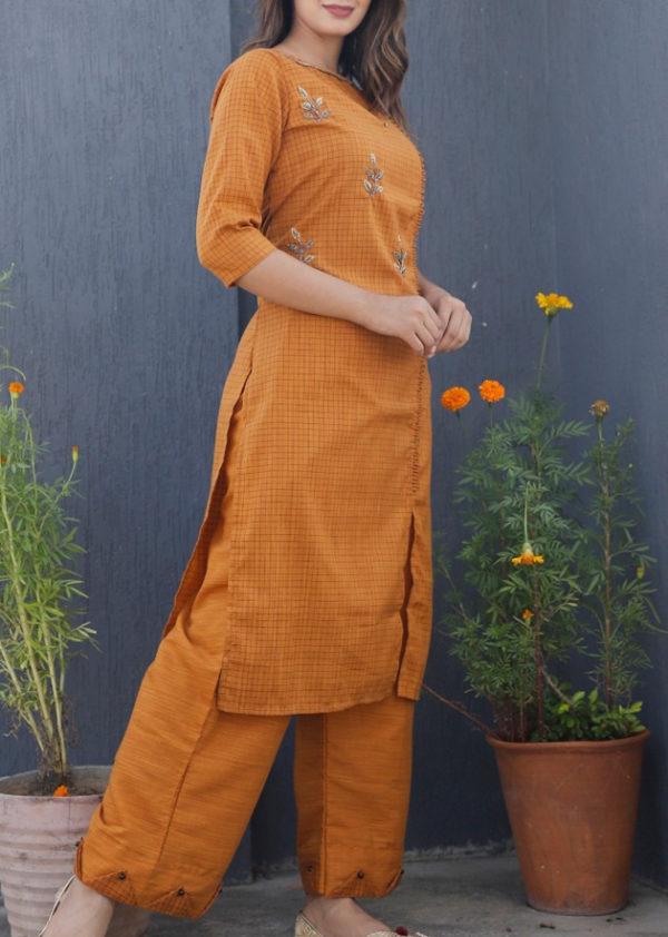 Imported fabric orange kurti