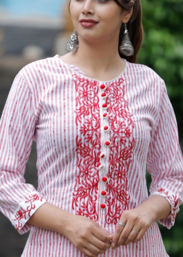 South cotton stiped straight kurti
