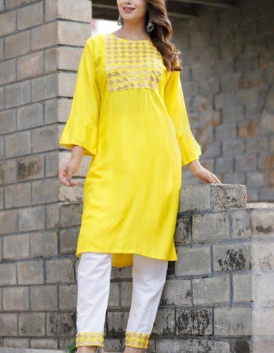 Yellow kurti and pant