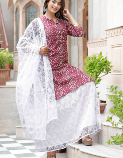 cotton kurti with net dupatta