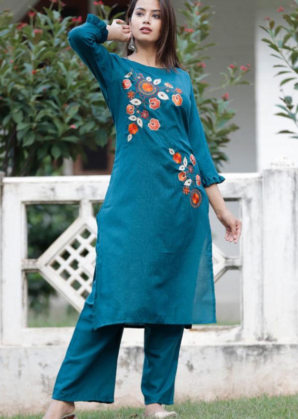 blue kurti palzzo embroidery