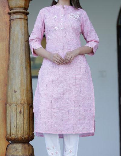pink kurti and white pant