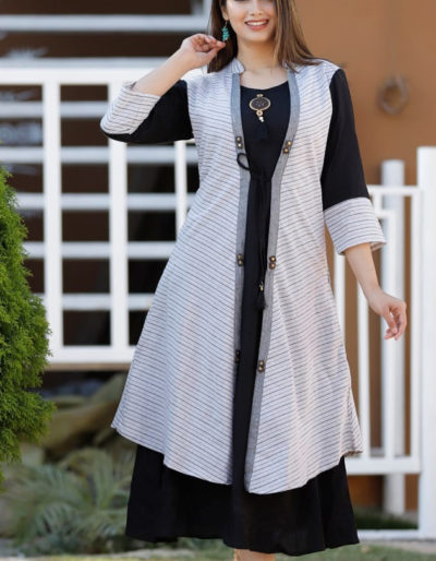 black kurti white shrug