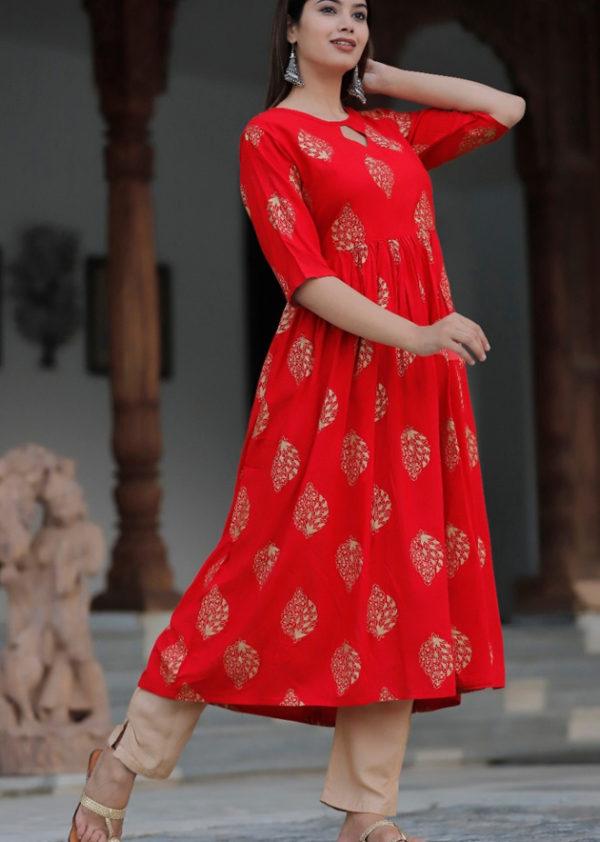 2 red long kurti