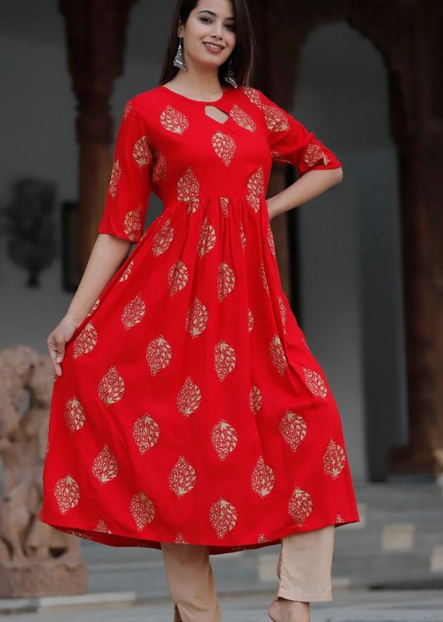 red long kurti