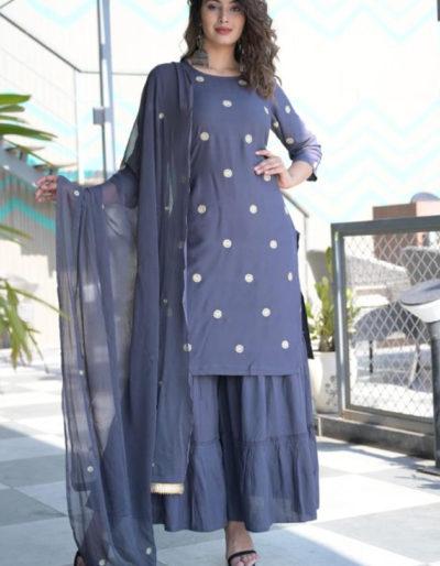Blue kurti and sharara