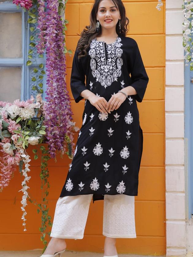black kurti off white embroidery