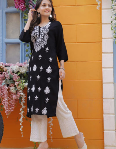 black kurti off white
