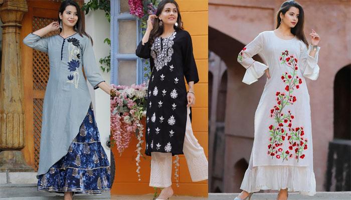 embroidered kurti designs