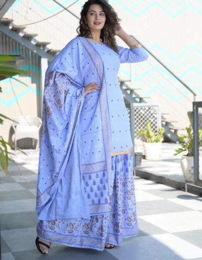 light blue kurti dupatta sharara