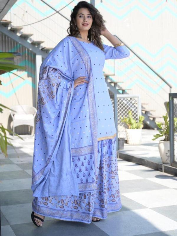 light blue kurti dupatta sharara