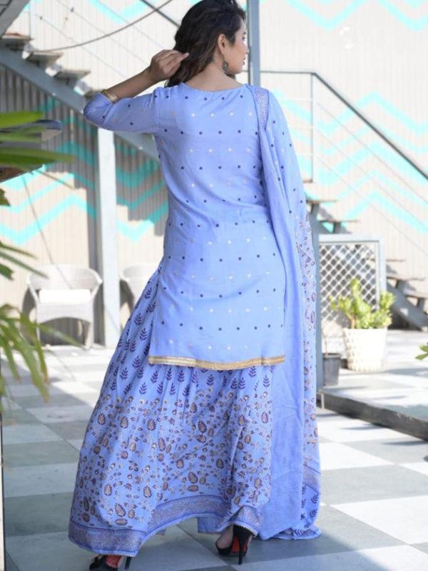 light blue kurti dupatta sharara 2