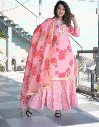pink floral prints gota lace