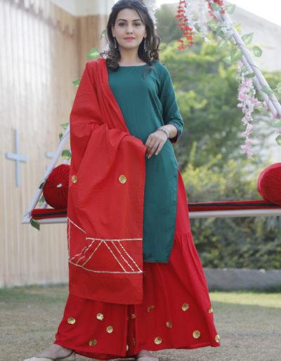 Green kurti with red sharara